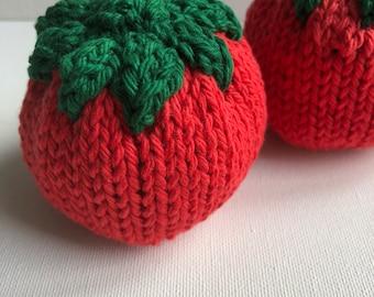 Knit Tomato, pretend food, pretend vegetables, Montessori toys
