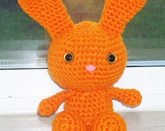 Sweet Bunny - Bright Orange Crochet Bunny DollEaster Bunny - Basket Filler - Easter Toy