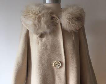 60s Beige Winter Swing Coat with Fur Collar Sm/Md