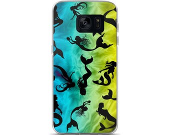 All Over Mermaid Mermaids on Blue Green Yellow Cell Phone Case Samsung Galaxy S7, S8, S8+, S7 Edge