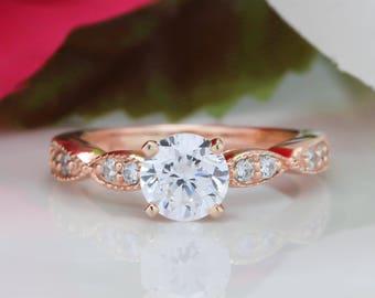 Bague de fiançailles en or rose Moissanite, Vintage Style diamant réglage toujours un centre