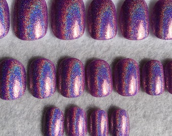 Lavender Fake Nails * Faux Nails * Glue On Nails * Holographic * Scattered Holo * Rainbow Nails * Lavender Nails * Purple Nails * Gloss