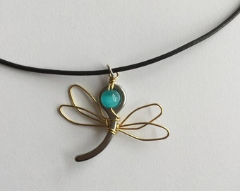 Dragonfly Necklace made with Parachute Pin