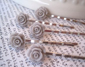 Bobby Pins, 5 Gray Flower Hair Pins, Pale Gray Roses, Bridal Hair Accessory, Flower Girl, Small Gift, Gift for Women
