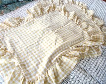 Vintage Yellow Gingham Pillow Shams, JC Penney, Pair of Shams