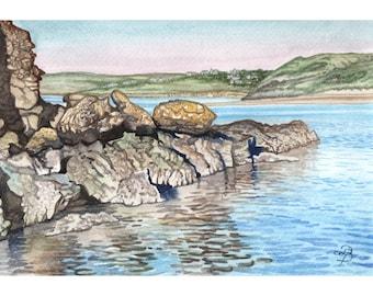 Camel Estuary watercolor painting, English seascape, Cornish coast, FREE shipping