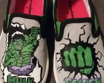 Hulk painted canvas shoes
