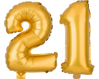 21 Number Balloons, 21st Birthday Party Balloons, 21 Balloon Numbers, 21 Party Supplies, 21st Birthday Decorations, Decor, 13 Inch Gold