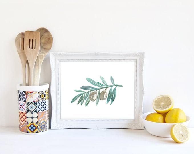 Olive Branch Print, Olive Art, Food Decor, Watercolor Print, Kitchen Art, Fruit Art, Botanical Print, Apartment Decor, Black Olive