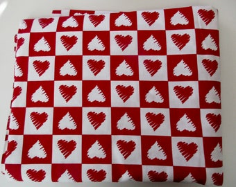 vintage heart cotton fabric - 5 yds, unused, new, red and white, Valentine's Day
