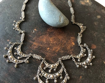Exquisite vintage cannetille  choker necklace sterling silver