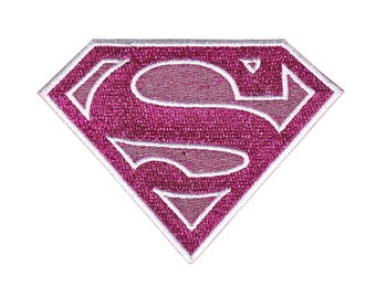 Pink Sparkle Supergirl Iron On Applique, Supergirl Patch, Genuine DC Comics Iron On Applique, Supergirl Applique, Superhero Applique, 3x3.75
