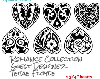 Romance Hearts by Tejae Floyde Silkscreen pattern crafting, polymer clay + mixed media
