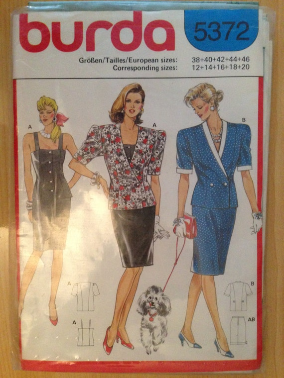 Burda 5372 Sewing Pattern 80s Uncut Misses Jacket, Top and Skirt Size 10-18