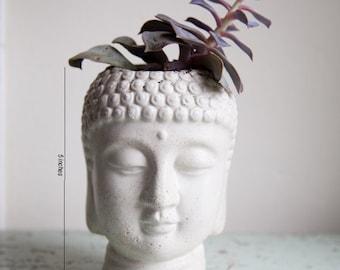 Cache pot en tête Bouddha - ciment cache-pot - Bouddha tête planteur #3