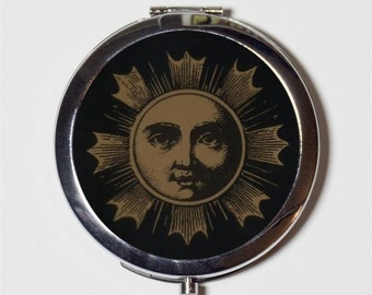 Occult Sun Compact Mirror - Aleister Crowley - Make Up Pocket Mirror for Cosmetics