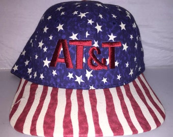 Vintage AT&T American Flag Strapback dad hat cap rare 90s nwot deadstock Democratic National Convention