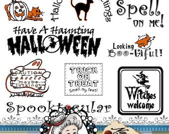 Halloween 1 Word Art Sentiments Digital Stamp Digi Instant Download ID:NV-WA0007 By Nana Vic
