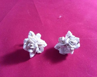 Mid century white porcelain rose earrings with gold highlights, clip on