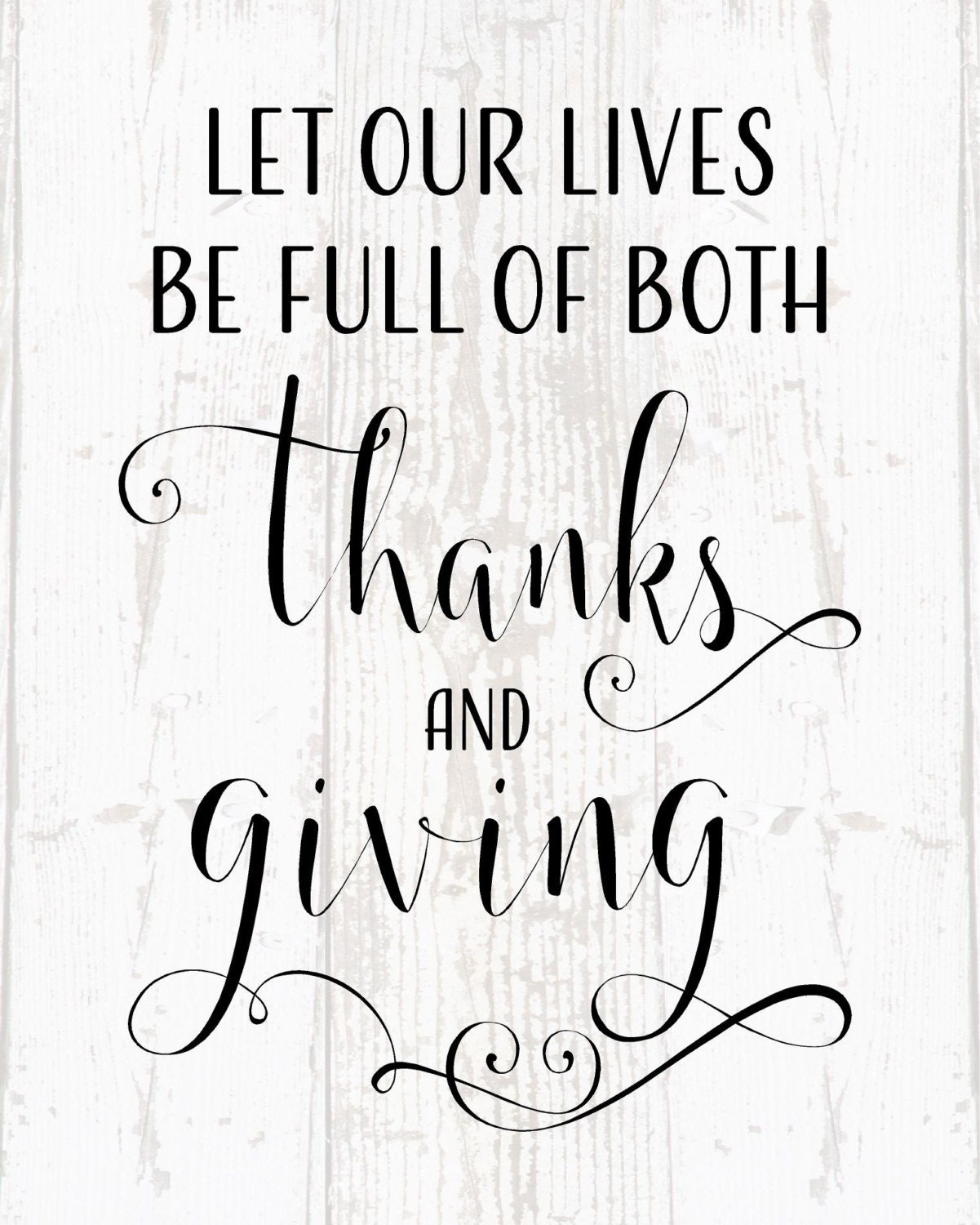 Let Our Lives Be Full Of Thanks And Giving Rustic Inspired Laurels Wood Sign Or Canvas