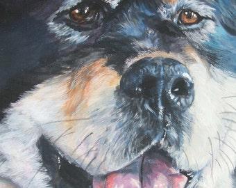 Tibetan Mastiff art  CANVAS print of LA Separd painting 11x14 dog art