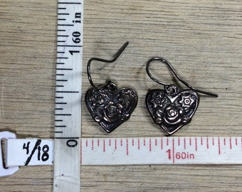 Vintage 925 Sterling Silver Earrings Heart Roses Dangle Need Cleaned Used
