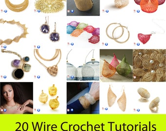 20 Wire crochet patterns package - jewelry making tutorials - video instructions - learn crochet with wires
