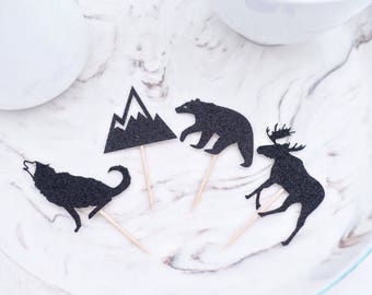 Woodland Party Cupcake Toppers, (12 ct), Little Wilderness Party, Mountain Baby Shower Decor, Lumberjack Party, Animal Cupcake Toppers