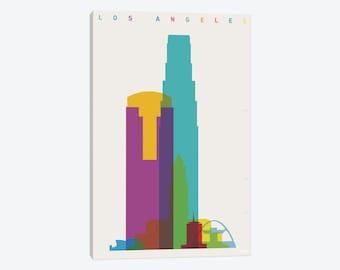 Los Angeles Art, Los Angeles Print, Los Angeles Skyline, LA California Poster, Canvas Wall Art, Abstract Cityscape, Downtown LA, Decor Gift