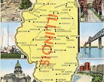 Illinois State Map Multi View Vintage Postcard (unused)