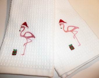 Pink Flamingo in Santa Hats with Gift Pink Flamingo's Tropical Beach Christmas Decor Guest Hand Powder Room Kitchen Towels READY TO SHIP