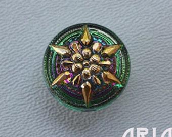 CZECH GLASS BUTTON: 18mm Starflower Handpainted Czech Button, Pendant, Cabochon (1)