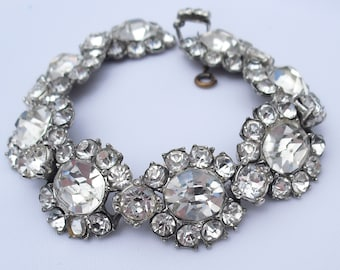 Art Deco Rhinestone Bracelet, Pot Metal Antique Wedding Jewelry, Foil Back Diamond Rhinestones