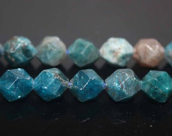 """Natural Faceted Apatite Nugget Beads,Apatite Beads,Star Cut Faceted beads,6mm 8mm 10mm 12mm Natural beads,one strand 15"""""""