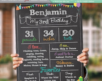 BIRTHDAY Editable Chalkboard Sign | Instant Download Digital Reusable File | Toddler 2nd 3rd 4th Favorites Height Weight Food | 8x10 / 16x20