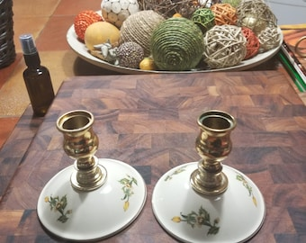 Lovely Candleholders with Cream on Brass with Small Yellow Roses