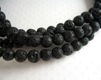 60 round black lava stone beads smooth 6mm