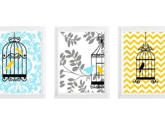 Modern bird cage art - bird on branch-home decor- prints- set of 3 - chevron
