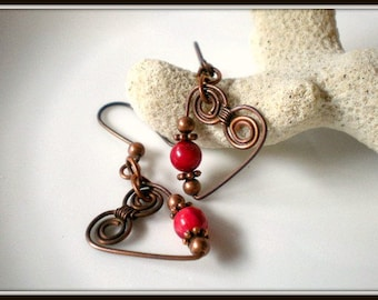 Copper Hearts Earrings with Spirals and Red Coral Wire Wrapped