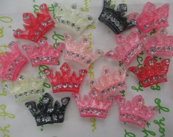 SMALL Crown cabochons Set 10pcs ( Glitter Clear colors )