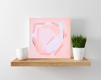 SALE: Blush Pink Abstract Painting - Tiny Painting - Modern Minimal Art - Wood Canvas - Abstract Art