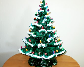 """19"""" CERAMIC CHRISTMAS TREE Vintage 1969 Lighted 3 Piece Large Green Flocked Snow Hand Painted Multi Color Lights Birds Atlantic Mold Gift"""