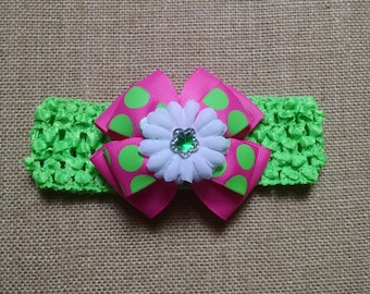 Baby Headband, Polka Dot Headband, Flower Headband, Baby Girl Headband, Baby Hair Accessory, Pink and Green Bow, Girls Hairbow, Pink Hairbow