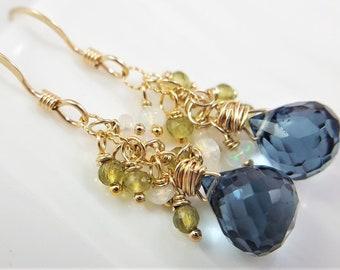 Gemstone Cluster Earrings, London Blue Topaz Quartz, Ethiopian Opal, Vesuvianite Jewelry, Multi Color Earrings, Gold Filled Earrings