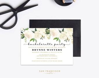 Bachelorette Party Invitation Instant Download   Editable Bachelorette Party Invite    watercolor, floral, white, gold - Editable PDF File
