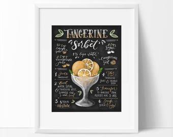 Tangerine Sorbet, Kitchen Printable, Summer Art Printable, Recipe Printable, Recipe Art, Ice Cream Art, 8 x 10, 5 x 7, Chalkboard Art.