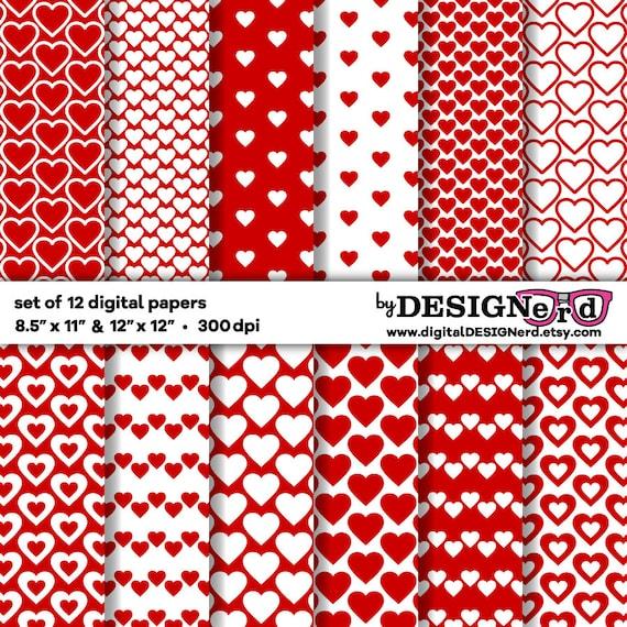 Corazón rojo y blanco papel Digital 12 x 12 y 8,5 x 11 princesa de ...