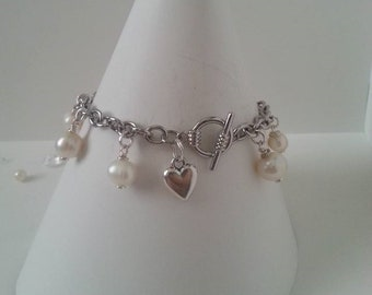 Pearl Heart Charm Bracelet