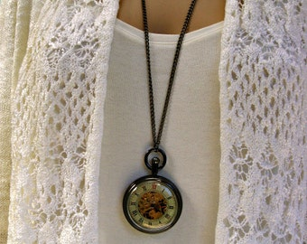 Steampunk Pocket Watch Necklace - Engravable Watch - Black Enamel Case - View Watch Gears - Women - Watch - MNW822nk