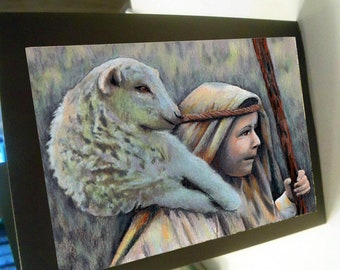greeting card print of original art-  Shepard boy and sheep
